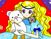 Girl With Teddy Bear Coloring